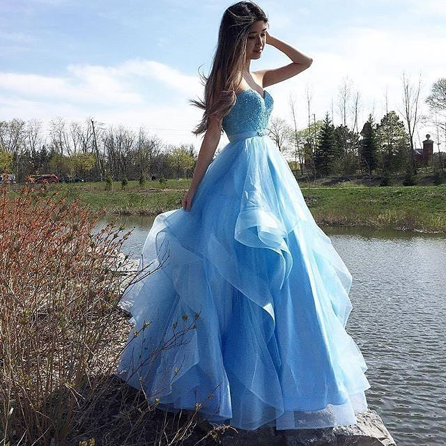 Sweetheart Ball Gown Prom Dress Light Blue Tulle,Beaded Formal Gown ...