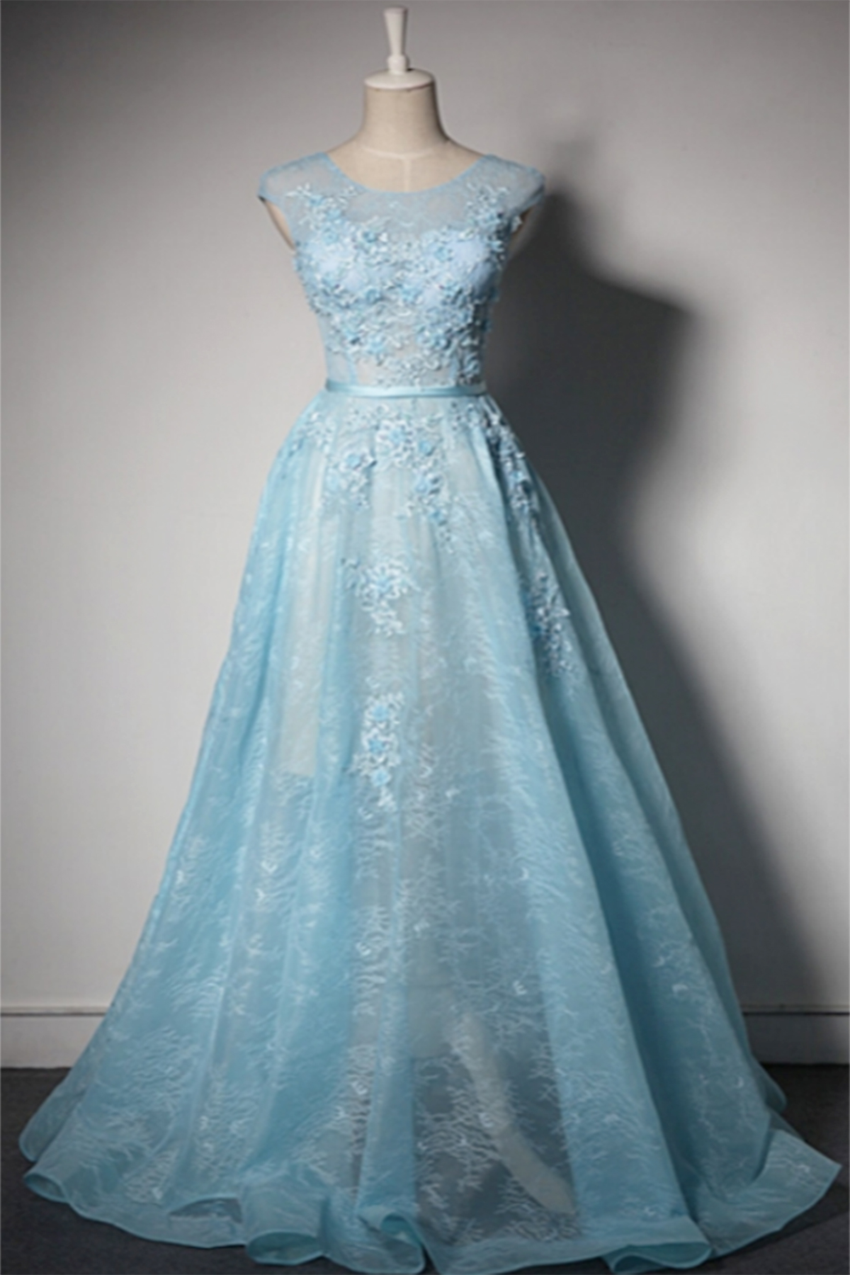 Ice blue lace round neck customize long senior pageant prom dress ...