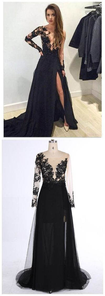 Elegant Black Lace Appliques Prom Dress,One Shoulder Evening Dress,A ...