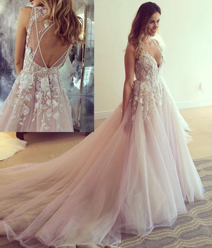pink long prom dress, 2018 long prom dress with train, elegant v ...