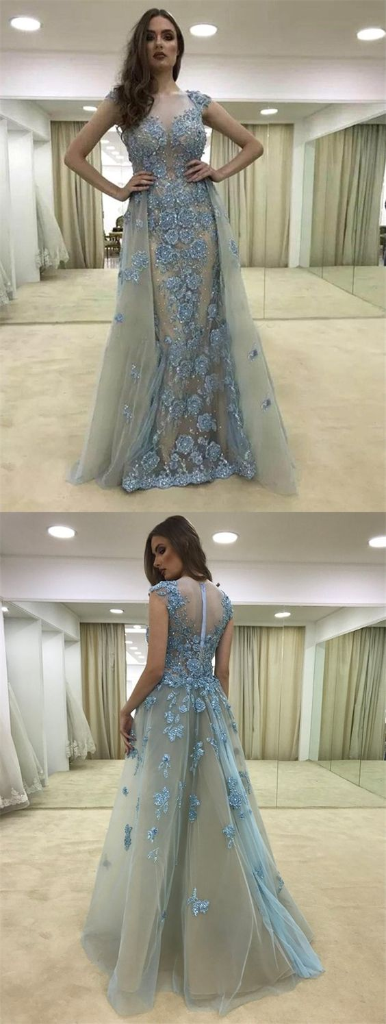 grey prom party dresses with appliques, elegant formal evening gowns ...