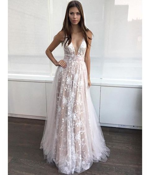 prom dresses,deep v-neck prom dress,A Line Prom Gown,lace prom ...