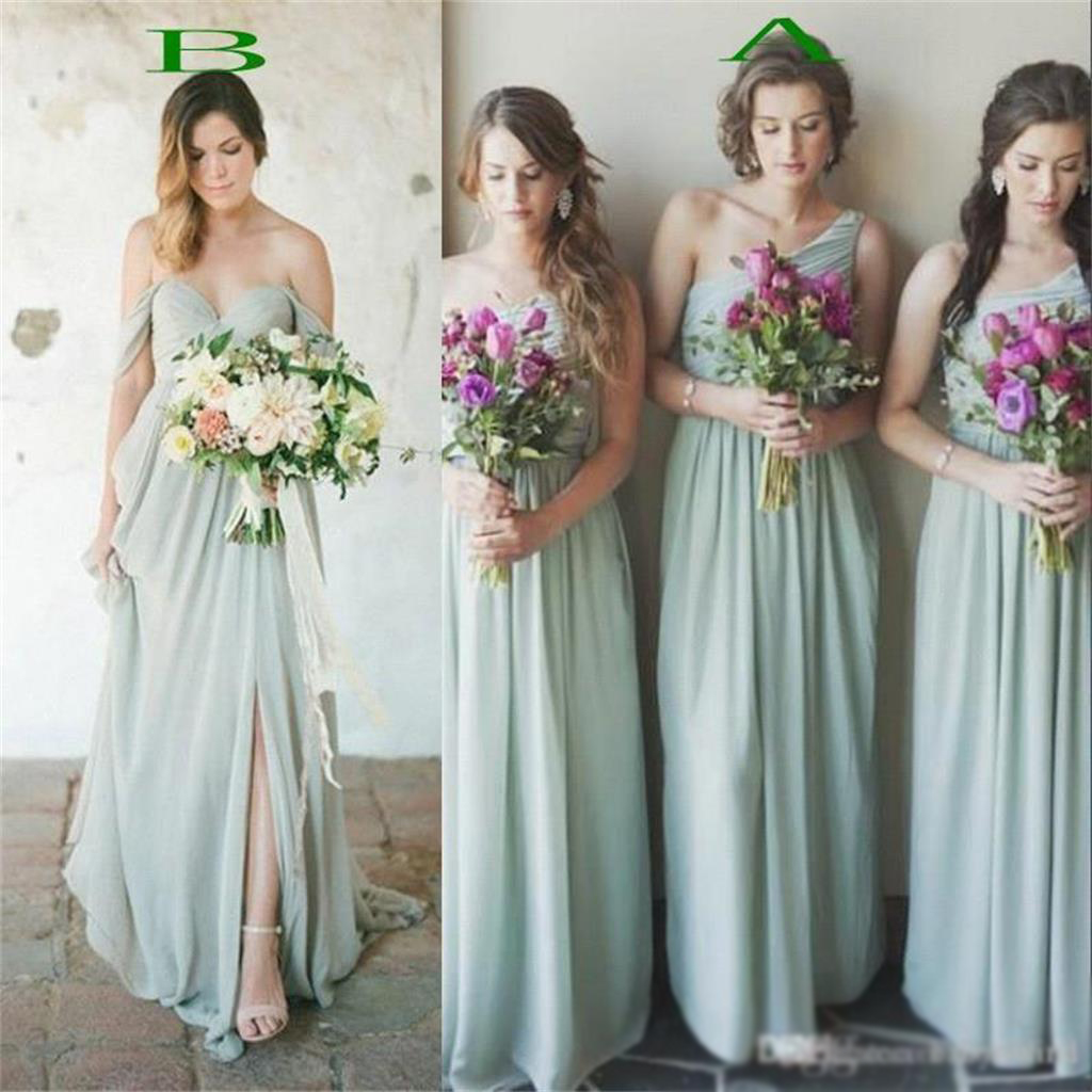 Green bridesmaid dresses, off shoulder bridesmaid dresses, one ...