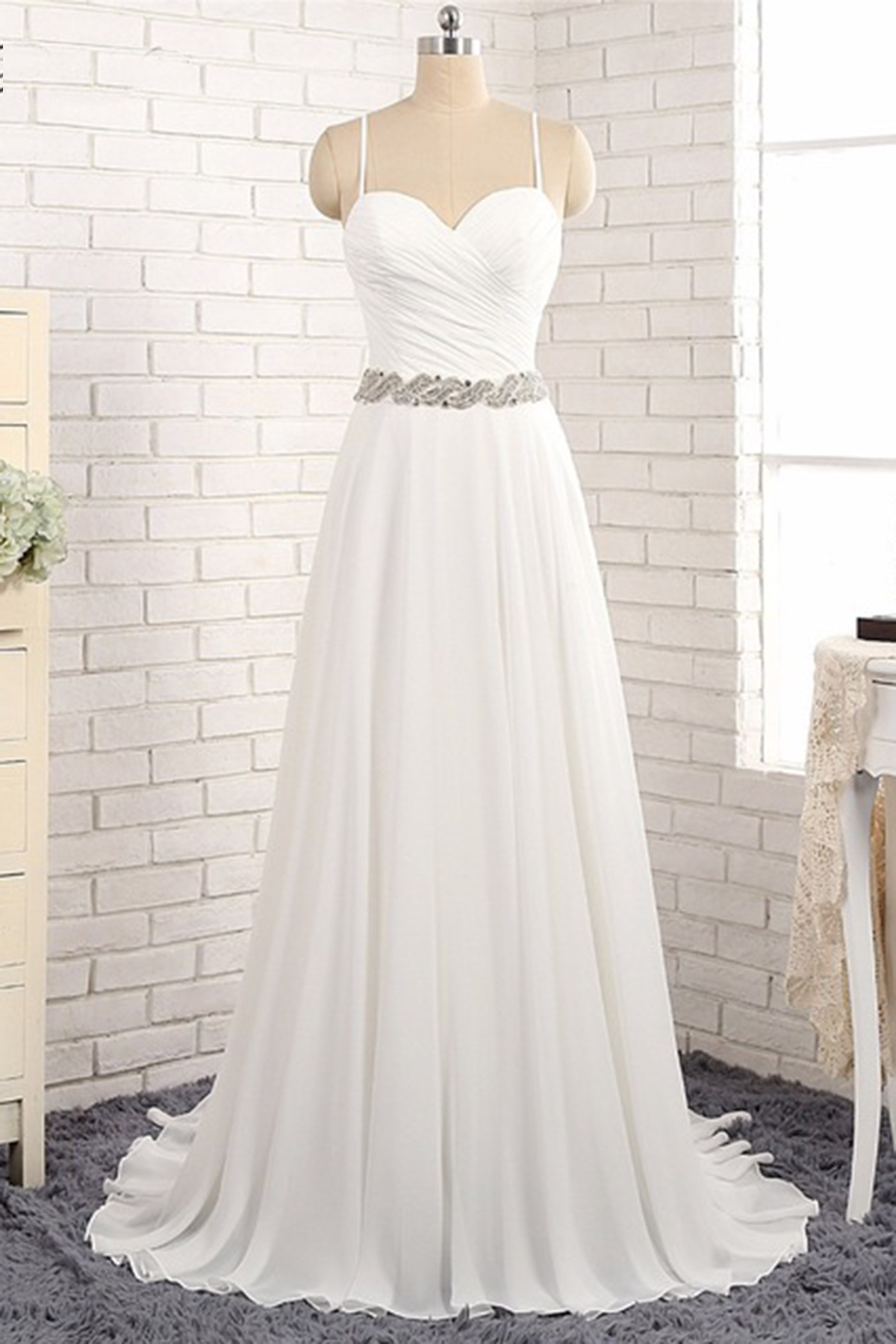New backless white chiffon long wedding gown, long beaded belt prom ...