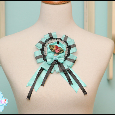 Grand rosette (two-way) - teal and black