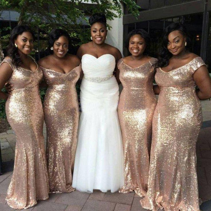 Sparkly Gold Sequin Mismatched Custom Long Bridesmaid Dresses ...