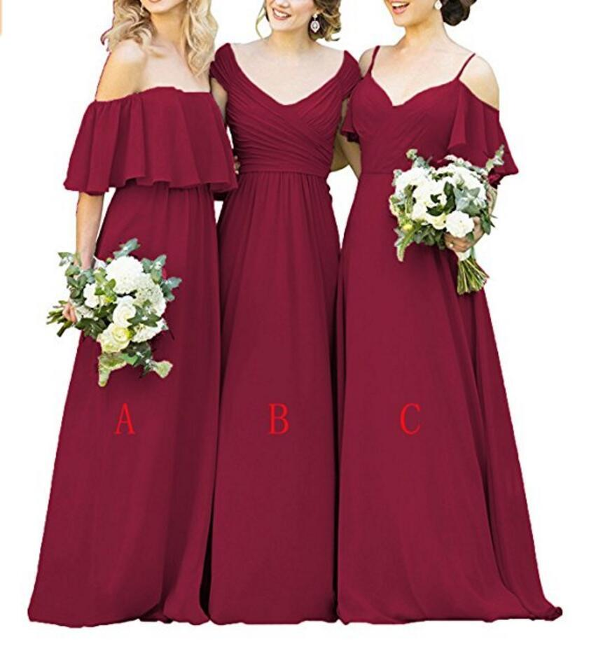 Mismatched red chiffon long bridesmaid dresses affordable unique mismatched red chiffon long bridesmaid dresses affordable unique custom long bridesmaid dresses affordable bridesmaid ombrellifo Images