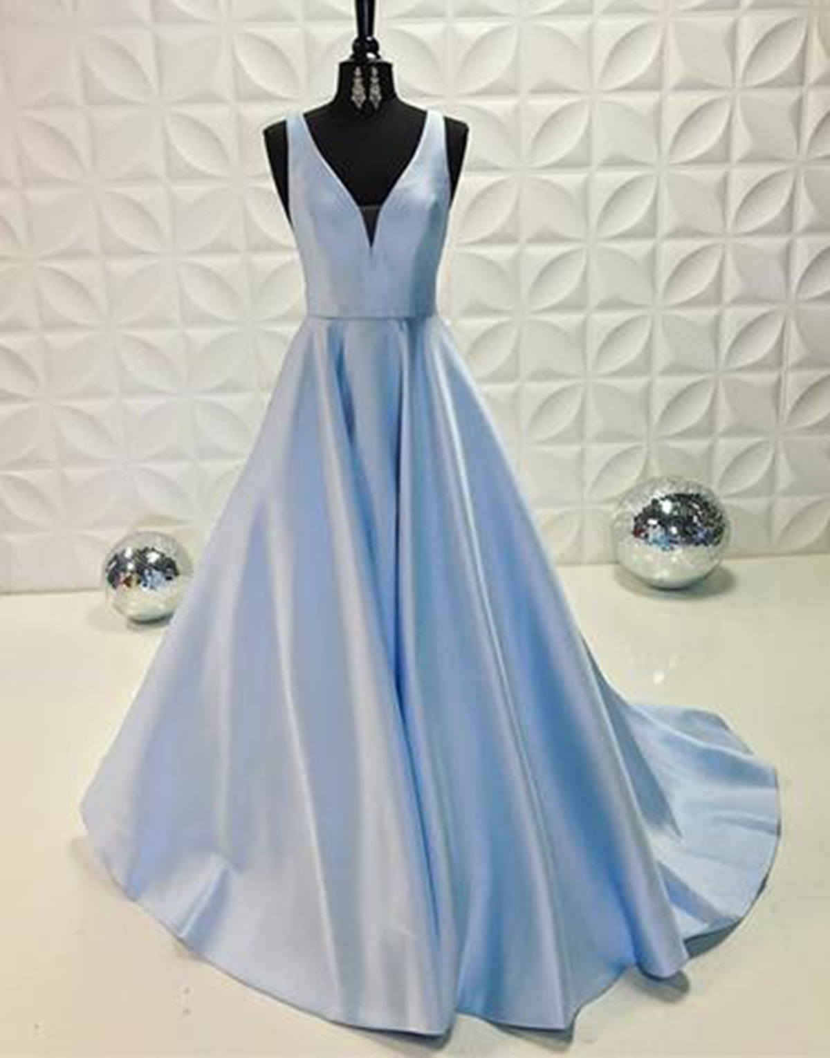2018 spring blue satin long senior prom dresses, long V neckline ...