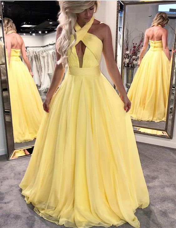 Yellow Long Prom Dresses with Straps