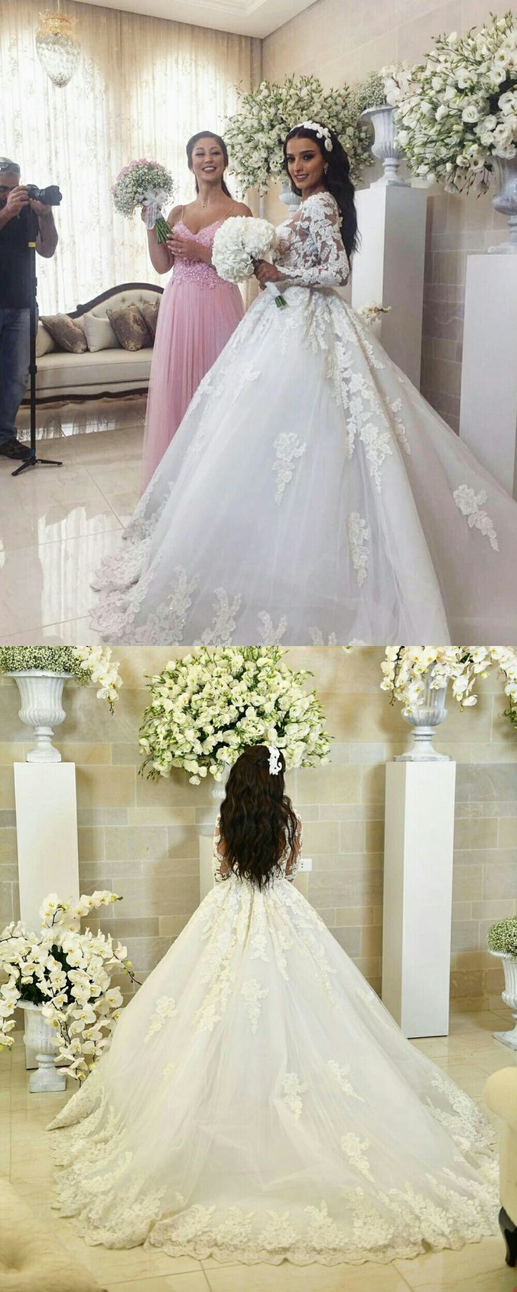 Vintage Lace Long Sleeves Ball Gown Wedding Dresses 2018 · prom ...