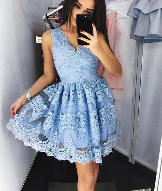 Home Homecoming Dresses Cute blue lace short prom dress, blue lace ...
