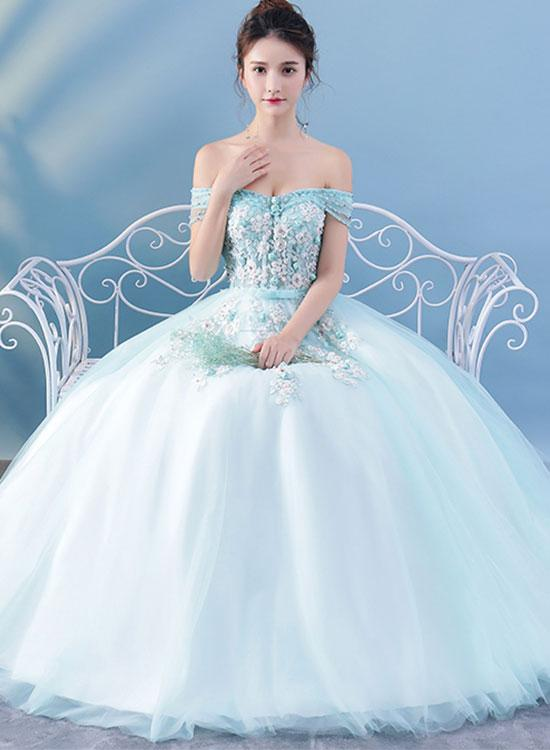 Light blue lace tulle long prom dress, lace evening dress,MB 28 · Ms ...