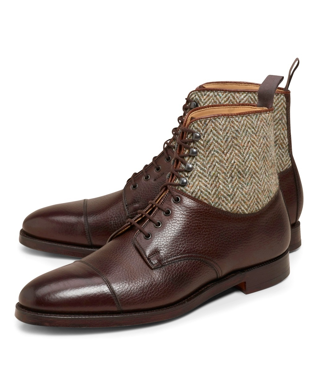 Handmade men brown leather boots, tweed fabric boot for ...