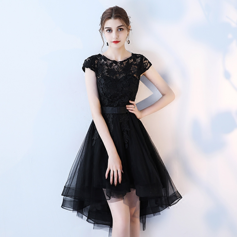of girl | Black lace short prom dress, high low evening dress ...