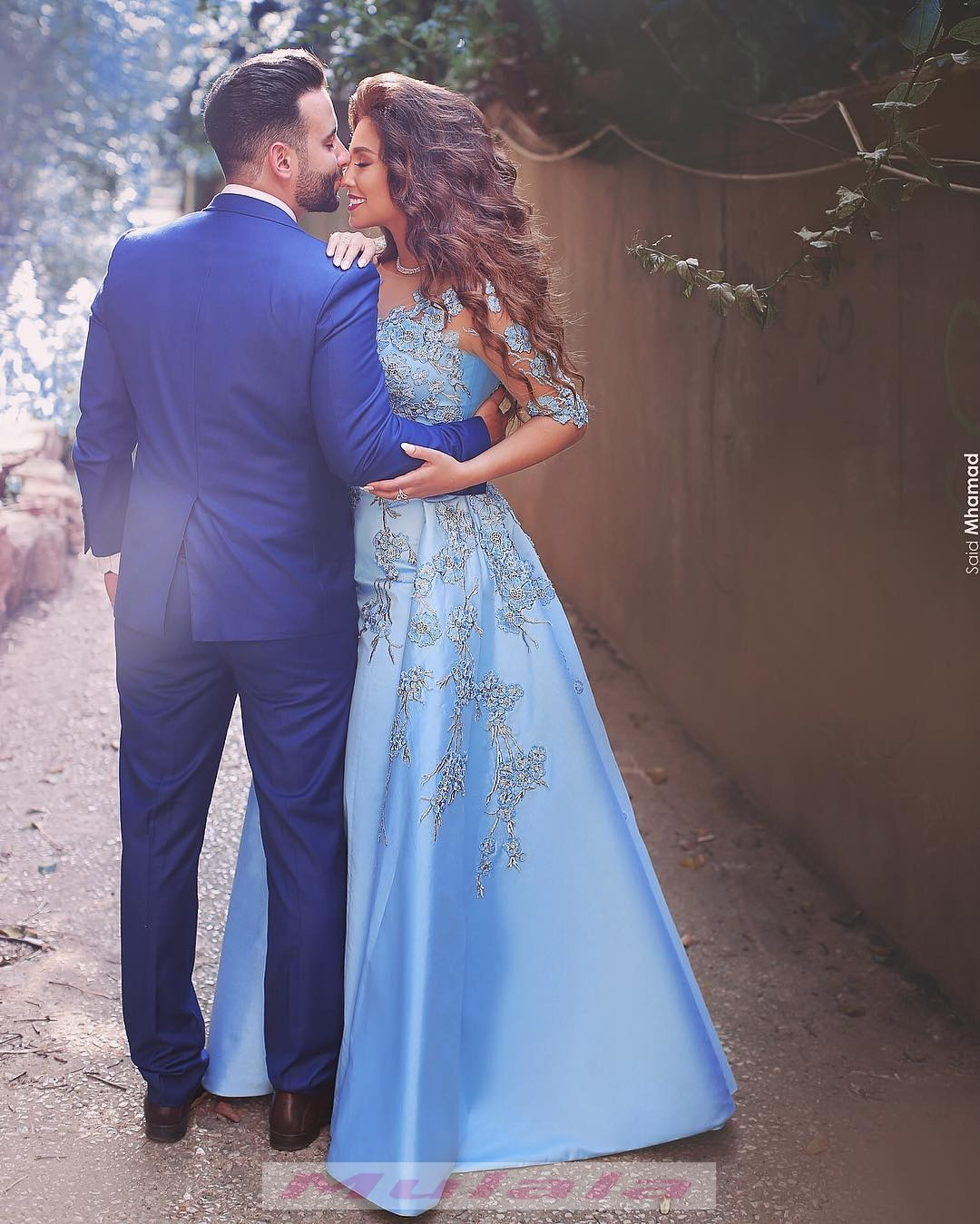 Sky Blue Off Shoulder Ball Gown Prom Dresses Half Sleeves Embroidery ...