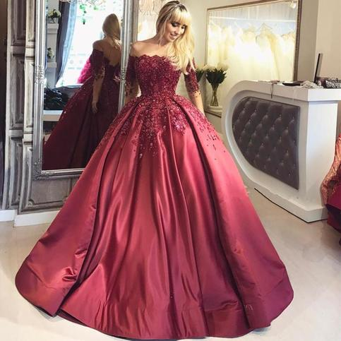 2018 Dark Red Lace Long Sleeve Prom Dress Off The Shoulder