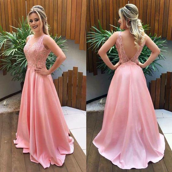 Long Pink prom dresses,Prom Dresses,lace Prom Dresses · HerDresses ...