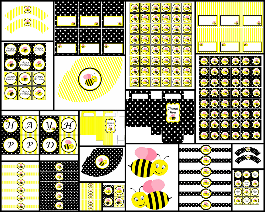 Bumble Bee Theme - Black (printable party package) · Dream ...