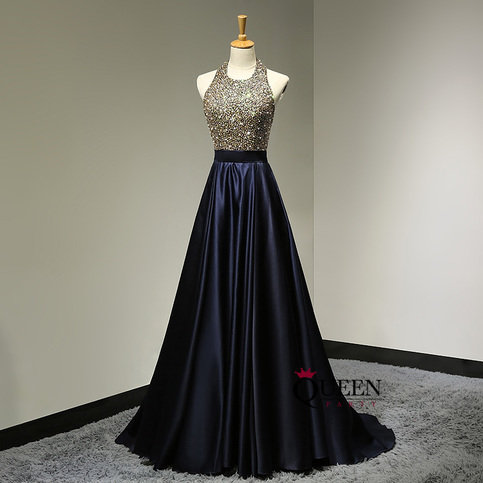 Brilliant halter golden beaded bodice ball gown navy blue for Goodwill wedding dress sale 2017