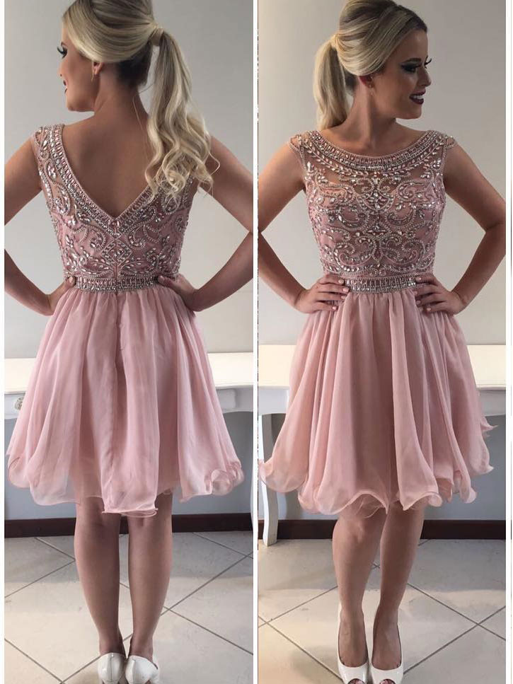 Scoop Beaded Bodice Short Prom Dress With Crimp Skirt Chic Blush ...