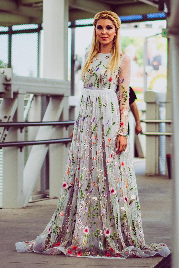 Flower Wedding Dress Color Wedding Dress With Sleeves Bridal Dress