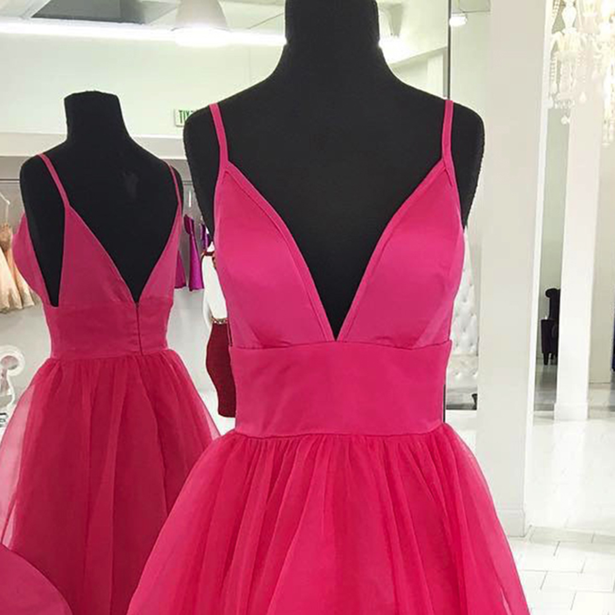 Coral tulle spaghetti straps long V neck ruffles party dress ...