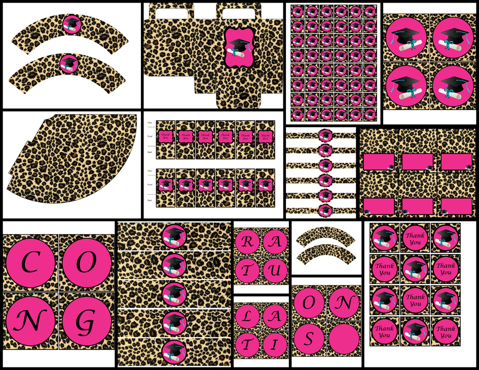 graduation theme - pink cheetah (printable party package) · dream ...