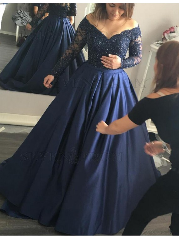 Navy Blue Lace Ball Gown,Long Sleeve Prom Dress,Custom Made Evening ...