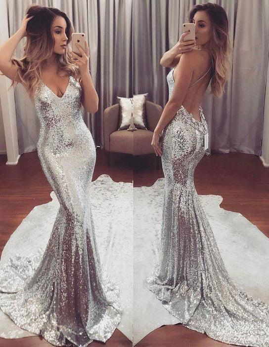 sexy backless sparkly mermaid sequin evening prom dresses