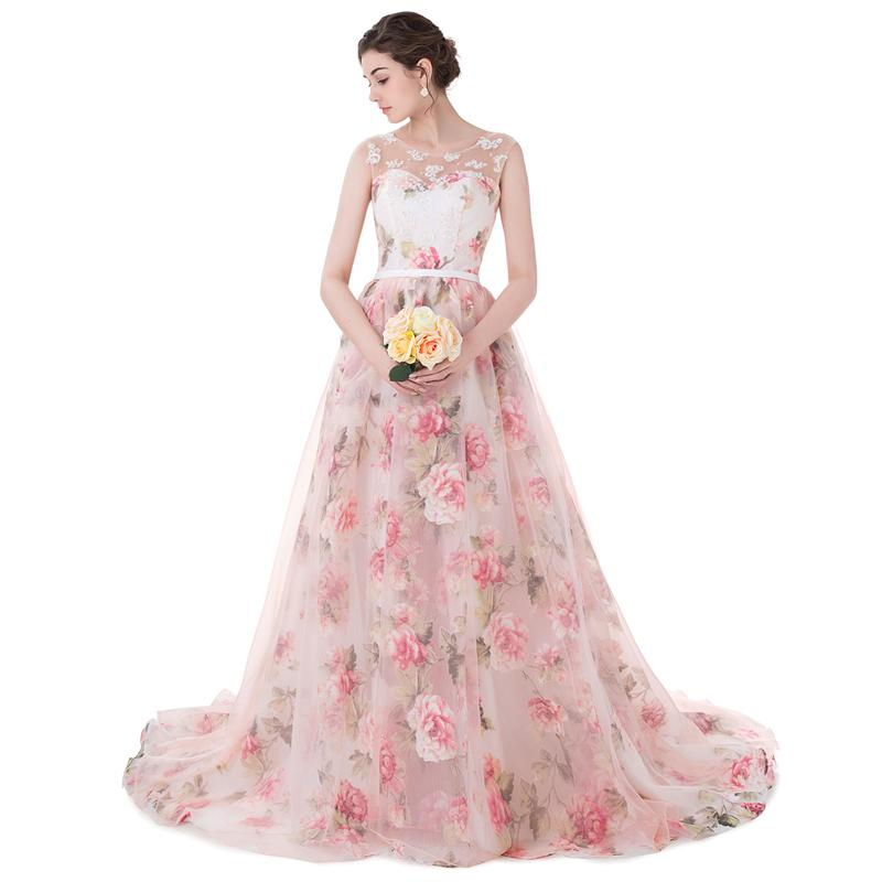Real Photos Pattern Organza Peach Color Ball Gown Wedding Dresses ...