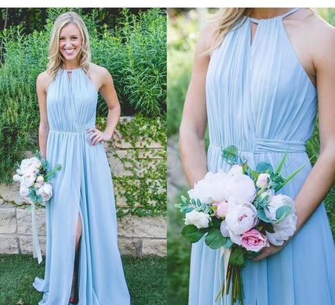Charming Light Sky Blue Boho Bridesmaid Dresses Pleated Chiffon Split Front Wedding Guest ...