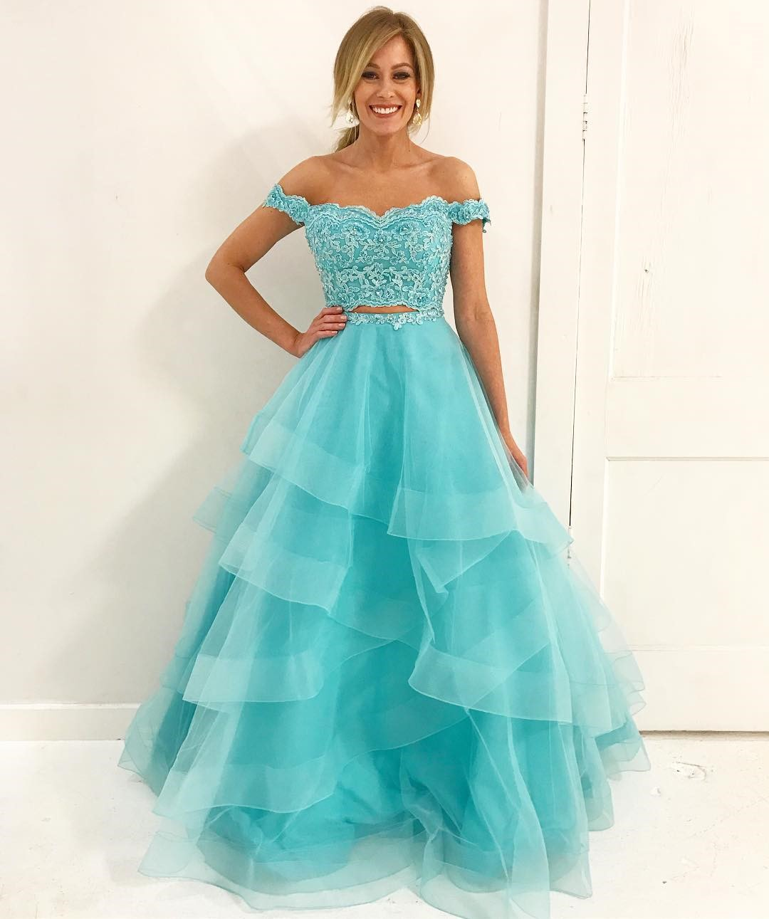 Mint Green Two Piece Prom Dress Off The Shoulder Formal Gown Layered ...