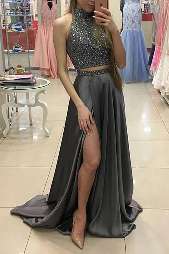 New Arrival 2 Pieces Prom Dresssexy Slit Prom Dress Silver Gray