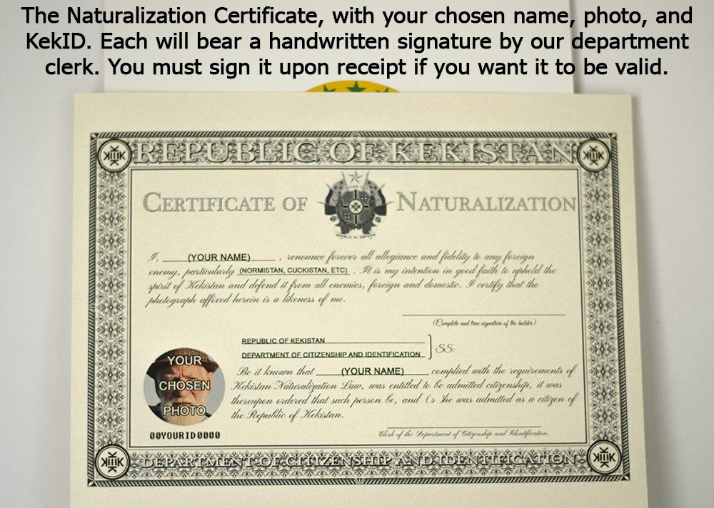 Kekistan Citizenship Certificate Mykekid Store Online Store