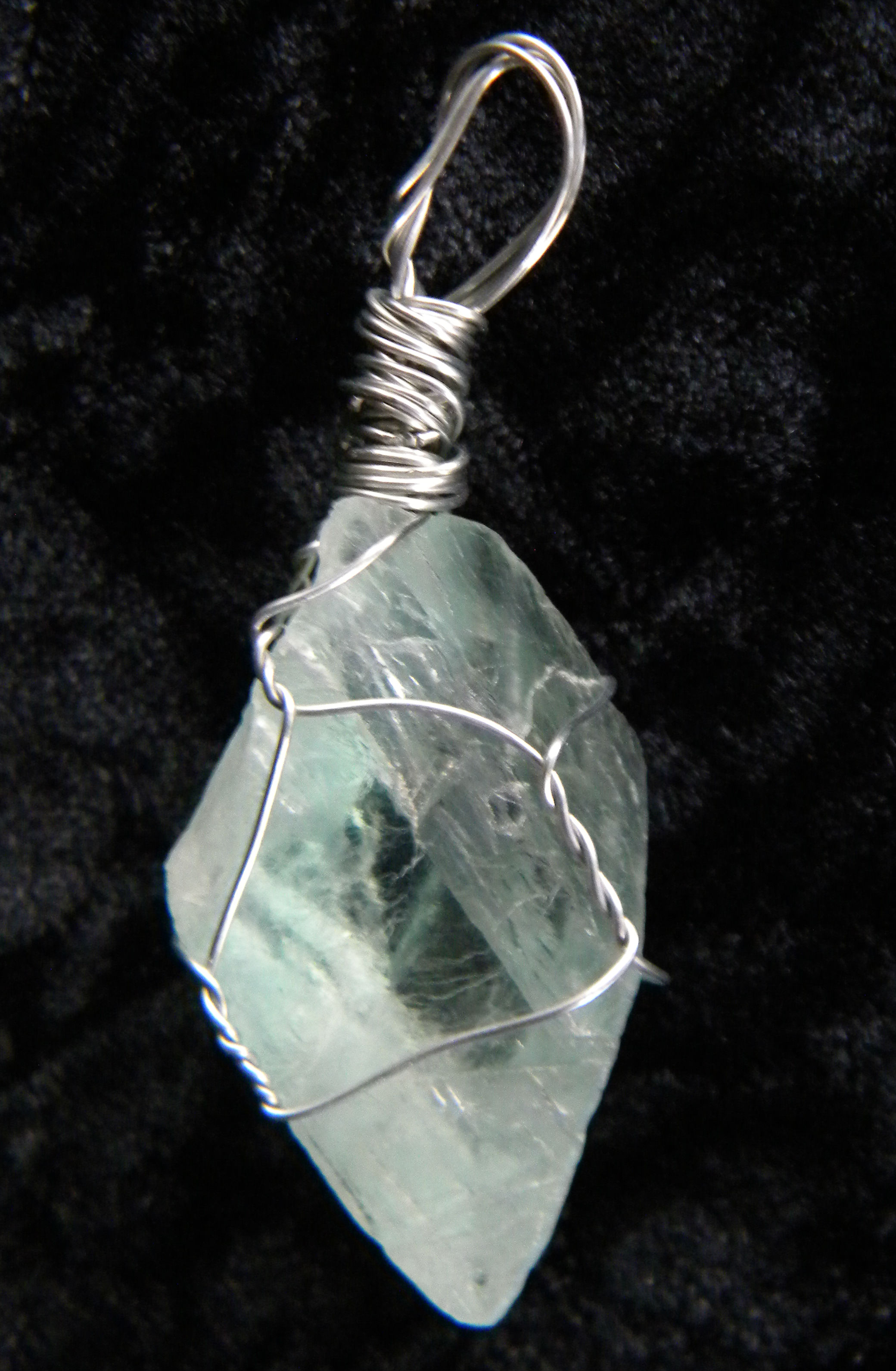 art fluorite pendant wrapped hyppiechic wire with necklace stone by green on