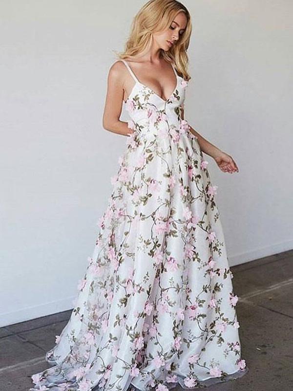 3d Flower V Neck Floor Length Prom Dress V Neck Formal