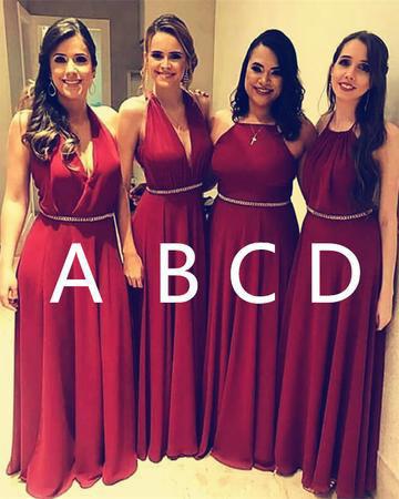 Burgundy A Line Halter Long Bridesmaid Dress,Plus Size Chiffon ...