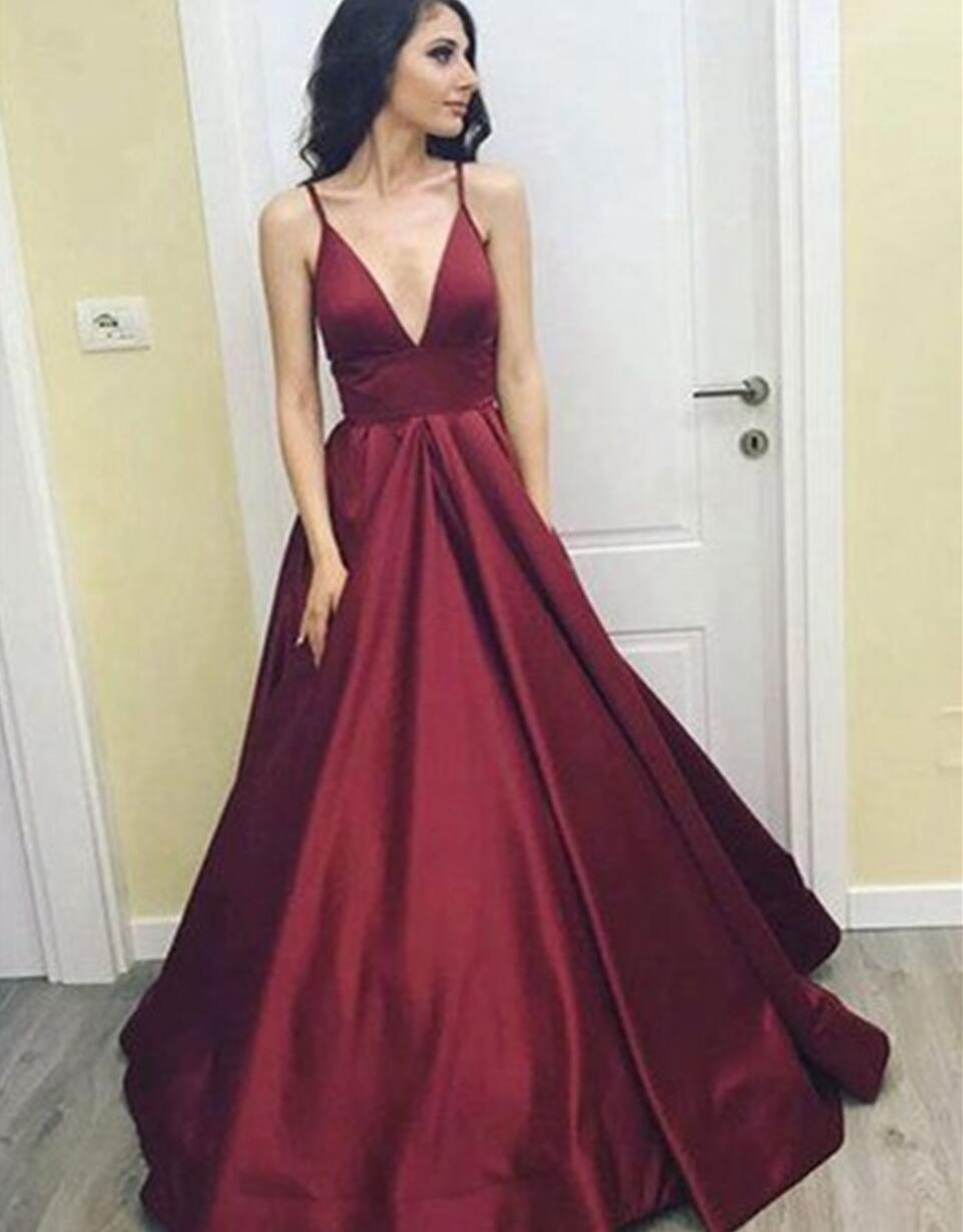 Simple Cheap Sexy Deep V Neckline A line Long Evening Prom Dresses ... aafd9dc0c