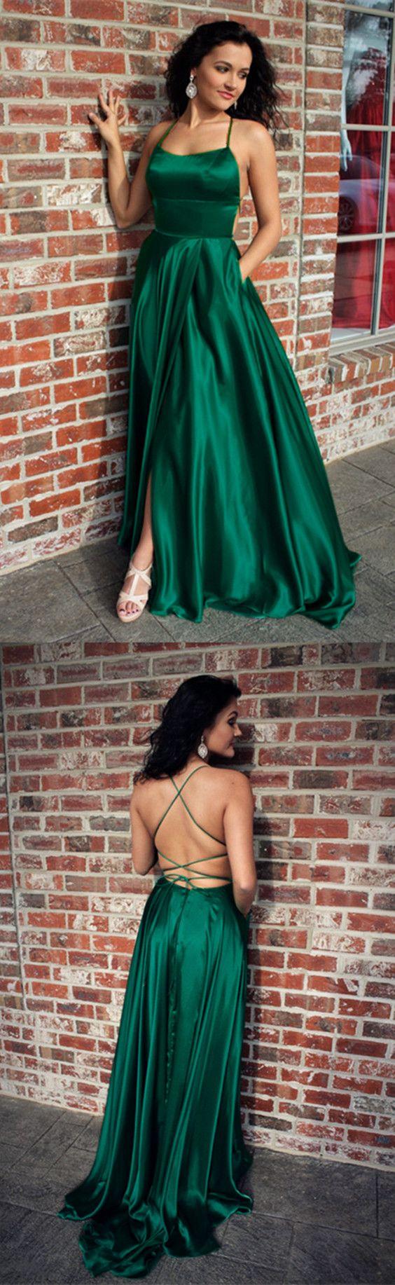 Spaghetti Straps Prom Dress, Long Prom Dress, Emerald Green Prom ...