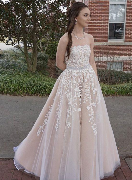 S421 Custom Made Champagne Lace Tulle Long Prom Dress, A Line ...