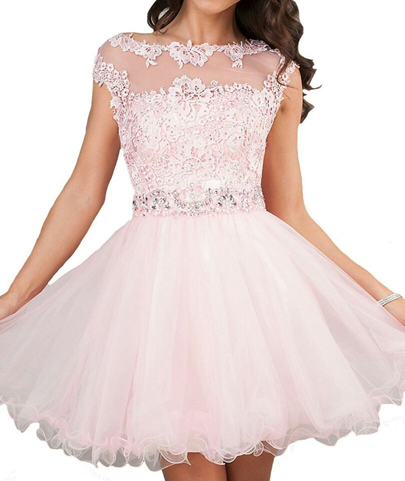 Romantic Scoop Pink Tulle Appliques Lace Homecoming Dress, Short ...