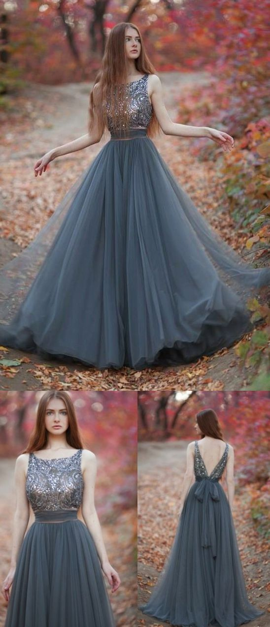 Princess Evening Dresses, Grey A-line/Princess Evening Dresses, A ...
