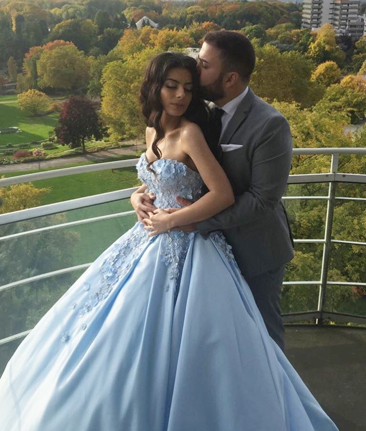 Embroidery Flower Lace Sweetheart Engagement Dresses,Ball Gowns Prom ...