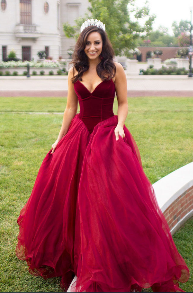 Burgundy Wine red evening gown, ball gown, wedding dress, formal ...