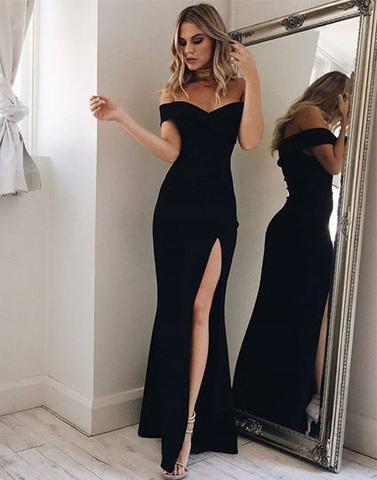 cb644714303 Black Side Slit Long Prom Dress
