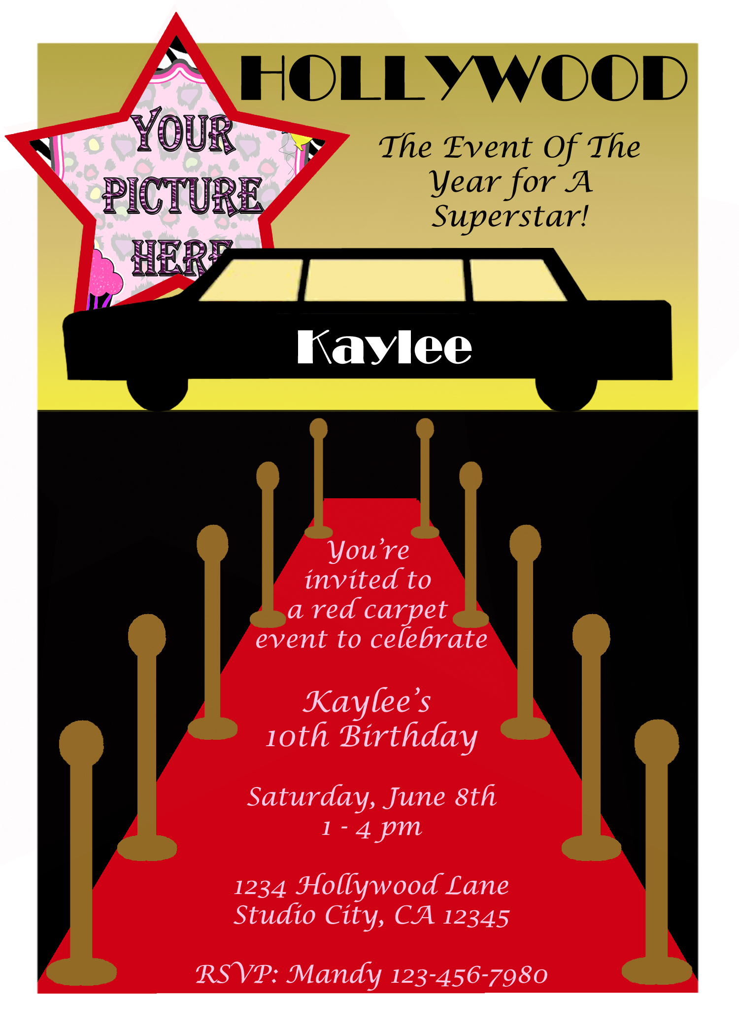 Hollywood Walk of Fame Invitation w/ Picture (printable diy) · Dream ...