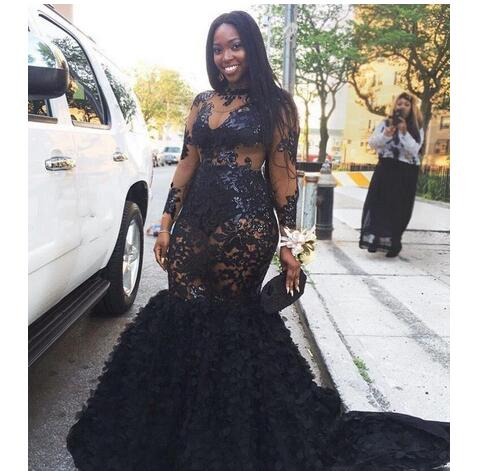 2018 African Plus Size Prom Dresses Long Appliques Sheer Neckline Mermaid  Evening Gowns Sleeves Tiered Black Girls Formal Dresses Evening Wear from  ...