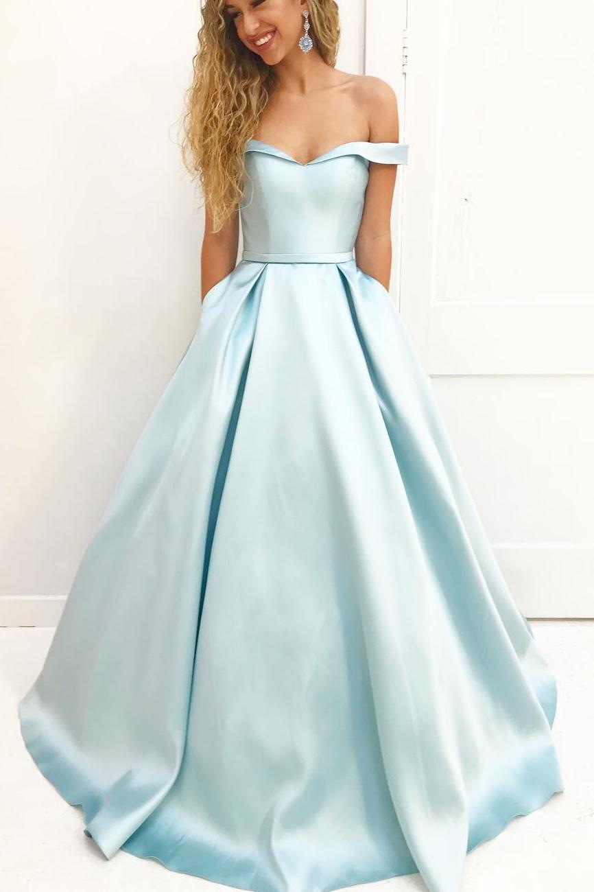 2018 Off Shoulder Prom Dress, Satin Long Prom Dresses, Satin Prom ...