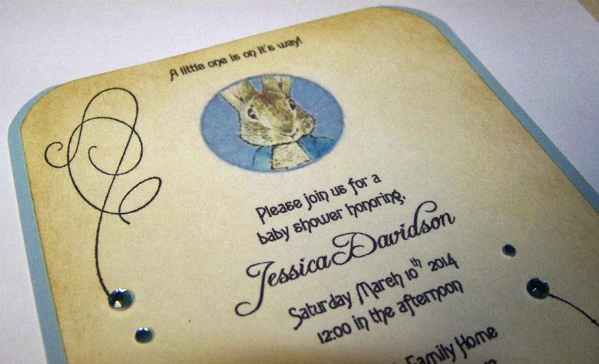 peter rabbit baby shower invitations baby boy blue swarovski, Baby shower invitations