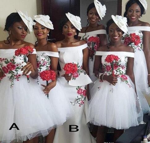 2018 african short bridesmaid dresses off shoulder satin
